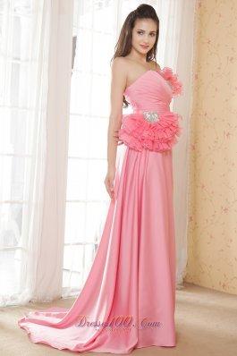 Watermelon Empire Pleated Fan Decorated Bodice Prom Dress