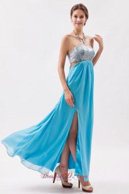Prom Evening Dress Sequin Bust Side Cutouts Slit