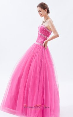 Hot Pink A-line / Princess Tulle Beading Prom Dress