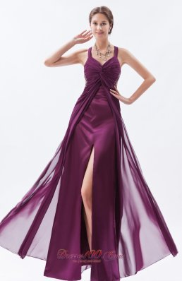 Straps Prom Dress Chiffon Overlayed Satin with Slit