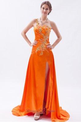 Empire Floral One Shoulder Brush Prom Dress Applique