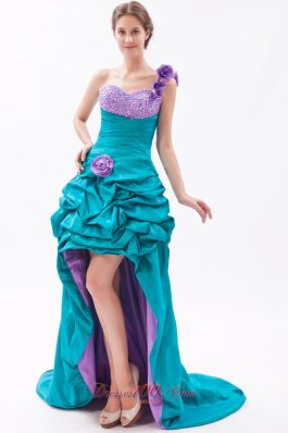 Teal and Lavender One Shoulder High-low Beading Prom Dress