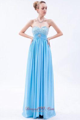 Baby Blue Empire Beaded Bust Prom Dress Pleating