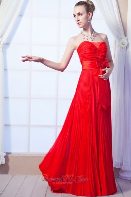 2013 Red Prom Dress Empire bowknot Pleated