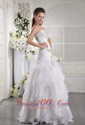 Prom / Evening Dress White Column Green Appliques Ruffles