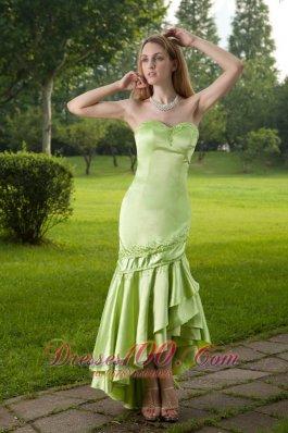 Mermaid High-low Taffeta Prom Dress with Pleating