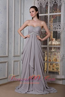 Empire Prom Dress Brush Drapping Fabric Beading