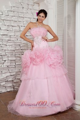 Prom Dress A-line Beaded Decorated Organza Tulle