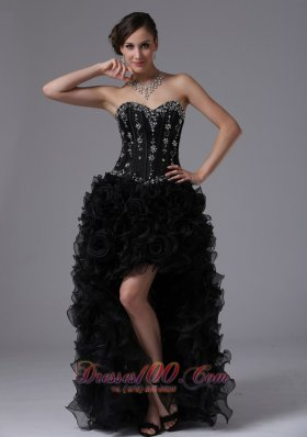 High-low Beaded Bodice Ruffles For Prom Dress