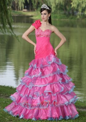 Hand Made One Shoulder Beaded Prom Evening Dress