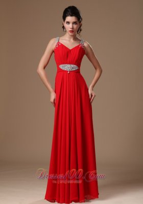 Beaded Decorate Straps Evening Dress 2013 with Pleating