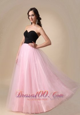 Black and Pink Taffeta and Tulle Ruch Prom / Pagent Dress