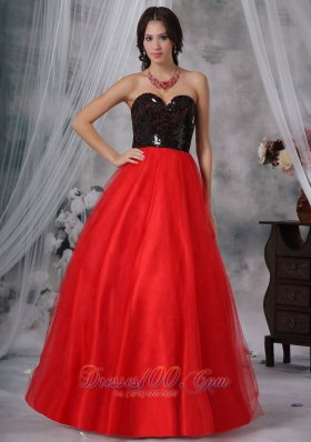 Red and Black A-Line / Princess Sequins Prom Dress