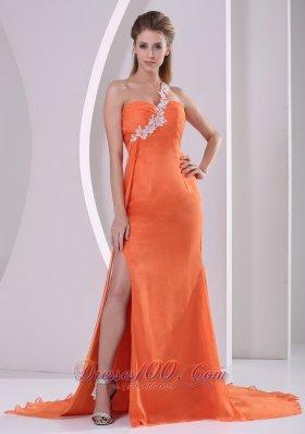 One Shoulder Crossed Bust Side Slit Court Prom Gown