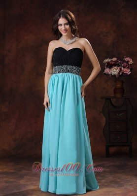 Black and Aqua Blue Beaded Waistband Prom Dress