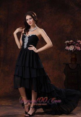 Prom Dress High-low Rhinestones Layered Ruffles