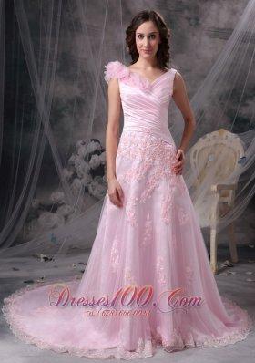 Princess V-neck Evening Dress Floral Appliques Court Train