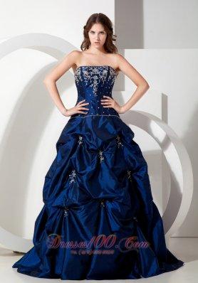 A-line Taffeta Pick Ups Appliques Prom Dress Beading