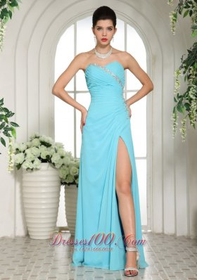 High Slit Beaded Prom Dress Ruch Beaded Decorated