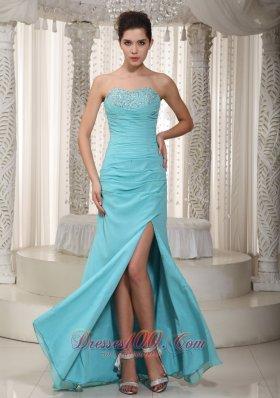 Light Blue Prom Dress Ruching Beaded Bust Side Slit