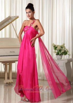 Appliques One Shoulder Hi Lo Drapping Fabric Prom Dress