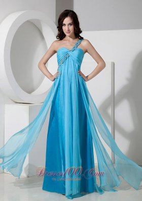 One Shoulder Drapping Fabric Both Side Prom Dress