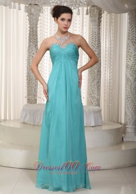 Empire Prom Dress Beading Bustline With Pleating