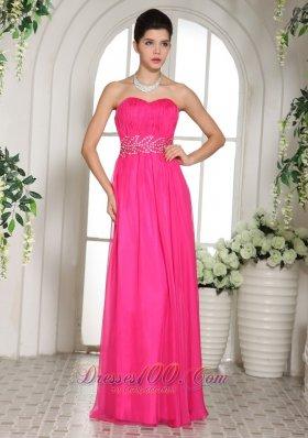 Column Prom Celebrity Dress Beading Decorated Waistband
