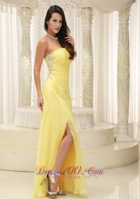 High Slit Prom Dress And Gown Beaded Applique
