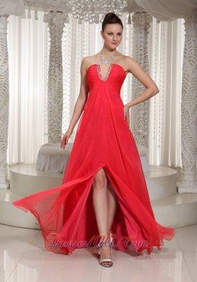 Beaded Slot Sexy Slit Long Prom Dress With Chiffon