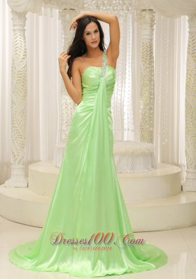 Beaded One Shoulder Prom Dress Drapping Fabric Front