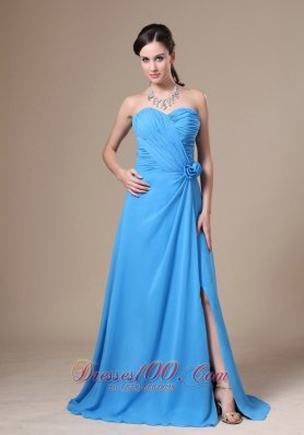 High Slit Flowers Decorate Bridesmaid Dress Ruched