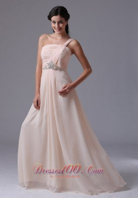 Empire One Shoulder Prom Dress With Ruch Beading