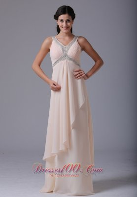 V-neck Prom Dress Beading and Ruch Uneven Hemline