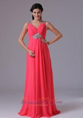 Ruched V-neck Mid Beadwork Prom Dress Floor-length