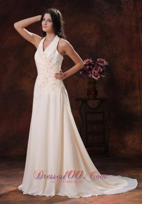 Halter Champagne Prom Dress With Brush Applique Decorated