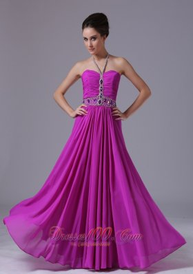 Halter Fuchsia Chiffon 2013 Prom Dress Colorful Beading