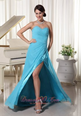 High Slit Prom Party Dress With Beading Decorated Side Slit