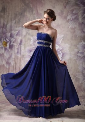 Empire Evening Dress Chiffon Beading Ruched
