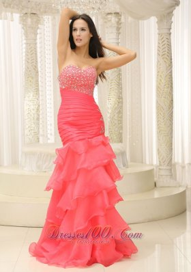 Beaded Bust Mermaid Pleated and Ruffles Prom Dress