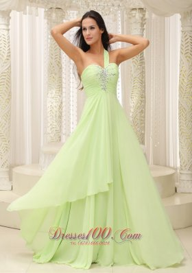 Ruched One Shoulder Beaded Decorate 2013 Prom Dress