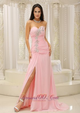 High Slit and Ruched Bodice For Evening Dress Beading
