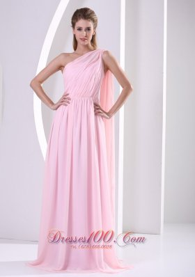 One Shoulder Bandage Bridesmaid Dress Attached Train