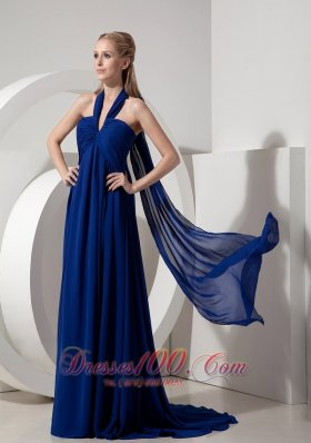 Halter Ribbon Back Ruched Decorated Prom Dress