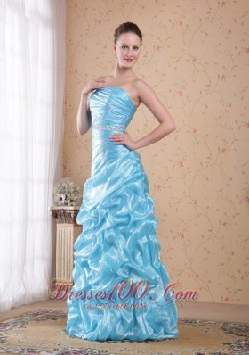Column Beading Prom Dress Waving Ruffles