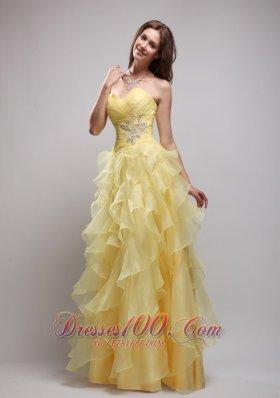 Empire Pieces Ruffles and Appliques Prom / Evening Dress