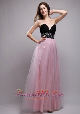 Baby Pink and Black Prom / Evening Dress Long