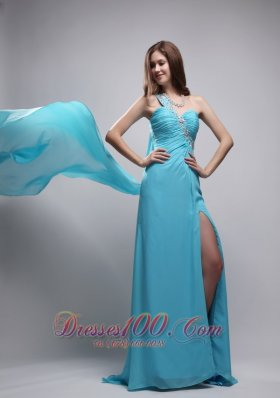 Beading One Shoulder Watteau Train Ruch Prom Evening Dress