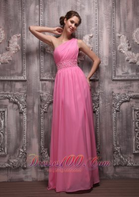 Empire One Shoulder Beading Prom / Evening Dress