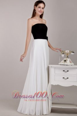 Black and White Empire Prom Dress with Pleating